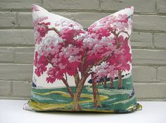 Barkcloth Pillow Cover Cherry Blossom Trees in the Lane