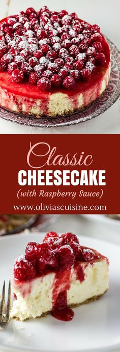This Cheesecake with Raspberry Sauce is the most decadent, tasty dessert. The cheesecake is rich and creamy and the raspberry sauce is sweet and No Bake Desserts, Just Desserts, Delicious Desserts, Dessert Recipes, Yummy Food, Easter Recipes, Health Desserts, Picnic Desserts, Italian Desserts