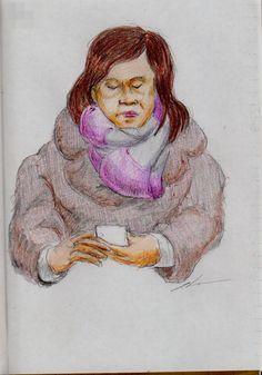 茶色いコートのお姉さん(通勤電車でスケッチ) This is a woman of sketch wearing a brown coat. I drew in a commuter train.