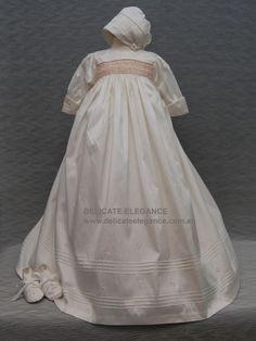 4203: Girls' 100% Silk Christening Gown with Pink Smocking