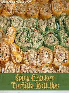 Spicy Chicken Tortilla Roll-Ups. Spicy Chicken Tortilla Roll-Ups are a great appetizer full of amazing flavors and are perfect for any party, including of July. Tortilla Rolls, Tortilla Wraps, Roll Ups Tortilla, Finger Food Appetizers, Appetizers For Party, Appetizer Recipes, Party Recipes, Tailgate Appetizers, Spicy Appetizers
