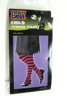 TOTALLY GHOUL Child Striped Tights 1 pair Halloween NEW Large Age 8+ pink black #TotallyGhoul #Halloweencostume #Tights
