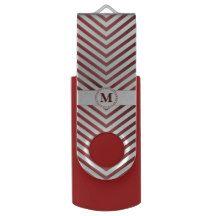 Red Monogram & Chevrons 2 - USB Swivel Flash Drive Swivel USB 3.0 Flash Drive