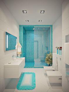 Blue Bathroom Design Ideas: Smart Way To Create Your Small Bathroom Designs Into A New Bathroom Designs, Bathroom Design Small, Bathroom Colors, Bathroom Interior Design, Modern Bathroom, Bathroom Ideas, Budget Bathroom, Simple Bathroom, Bathroom Hacks