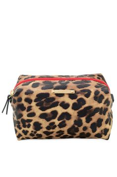 Leopard Print Zippered Cosmetic Case & Makeup Bag | Leopard Pouf | Stella & Dot