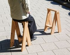 Torafu ARchitexts AA Stool - The Torafu Architects AA Stool design is genius in its simplicity. The AA Stool is sold in sets of two, and is made from premium Canadian red cedar. High Stool, Low Stool, Wood Furniture, Furniture Design, Street Furniture, Making A Bench, Wooden Stools, Folding Stool, Eames Chairs