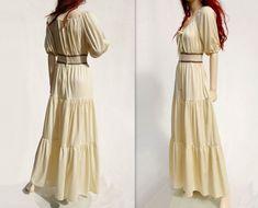 70s Boho Maxi Dress Vintage Maxi Dress Cream by StarletVintage