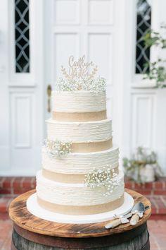 rustic burlap white wedding cake