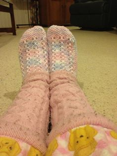 My Great Aunt who knits the cutest bed socks to go with my over loved #PeterAlexanders.