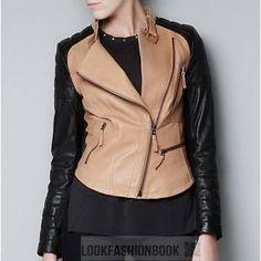 2b286d77d Womens Two Tone Biker PU Faux Leather Jacket Black Khaki Collar Winter |  eBay Casacos De