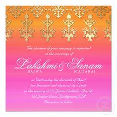 Indian Wedding Invite Damask Gold Pink Orange via zazzle