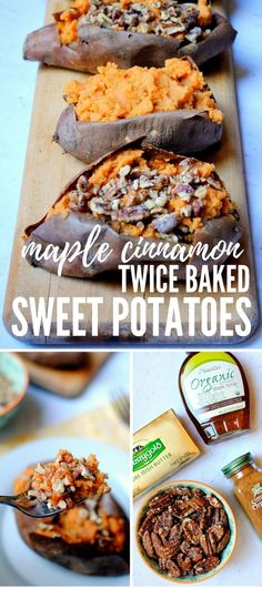Maple Cinnamon Twice Baked Sweet Potatoes (Peanut Butter Fingers) Real Food Recipes, Vegetarian Recipes, Yummy Food, Healthy Food, Healthy Recipes, Healthy Dinners, Delicious Recipes, Thanksgiving Recipes, Holiday Recipes