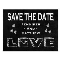 #savethedate #postcards - #Chalkboard Save the Date Black Wedding Love Hearts Postcard