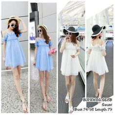 BJPXWZG Dress Biru Dress Putih Dress Sabrina Dress Bahu Terbuka Dress Babydoll Dress Hamil Dress Pantai Casual