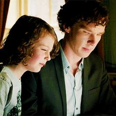 """Sherlock has just told this child that the """"stuff in his eye"""" are maggots.  The kid's response is """"cool""""!  Sherlock's reaction is concern & then admiration: he knows he's going to like this kid.  And how odd is that?  (.gif set)."""