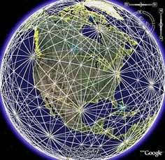 "North American ley lines: A ""ley line"" is an unseen conduit of spiritual energy that runs through the Earth, they tend to intersect in a grid-like pattern.  Points where these lines intersect are thought to be vortexes of psychic or spiritual energy by New Agers.  Said devotees of the ley line theory claim that ancient peoples, whether unconsciously or intuitively, built their monuments along these conduits.  The pyramids of both Egypt and Mexico are said to be atop ley lines."
