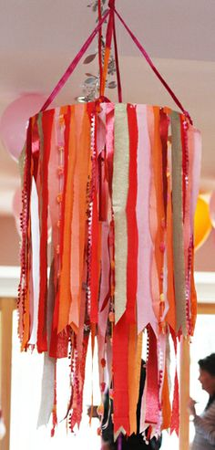Crepe paper, or ribbon, fabric strips, lace chandelier hula hoop, embroidery ring, lamp shade form