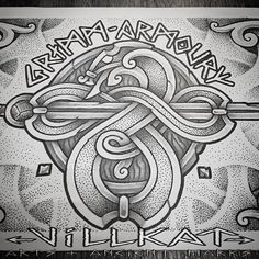 """Sneak peak of some concept art for the """"Grimm Armoury"""" logo, a small LARP weapon armoury company ;) #larp #weapons #armoury #vikingweapons #vikingshield #vikingsword #vikingaxe #Thor #thorshammer #mjolnir #nordic #norse #nordicart #norseknotwork #villkattattoo #villkat #villkatarts #viking #vikings #vikingart #vikingnation #dotwork #dotsnpatterns #knotwork #celticknotwork #artofthenorth #knotworktattoo #vikingtattoo"""