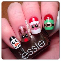 """Santa Claus is coming to town  Here are some Christmas character nails I did! From left to right, I did a snowman, Rudolph, Santa, and an elf costume! This design was very much inspired by the amazing and super talented @filippa_bengtsson , I even used her tutorial for the little Santa! I am holding Essie """"Good as Gold"""" which is a very pretty gold polish that I used for the belt buckle on the elf costume."""