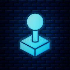 Glowing neon Joystick for arcade machine icon isolated on brick wall background. Brick Wall Background, Arcade Machine, Glow, Stock Photos, Illustration, Cover Pages, Games, Illustrations, Sparkle