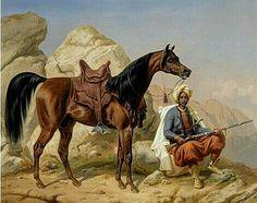 Algérie - Peintre Danois, Niels Simonsen(1807–1885), Technique : Huile sur toile 1866 , Titre : Cavalier arabe et son cheval