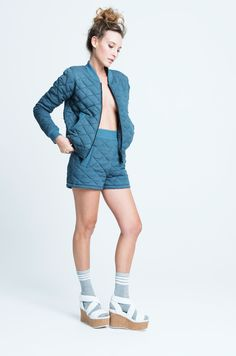 sara bailes x quilted bomber x quilted shorts x navy