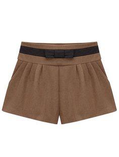 Brown Bow Embellished Woolen Shorts EUR€23.51
