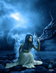 Fairy with dragon Stunning Fantasy Characters Digital Art Fantasy Dragon, Dragon Art, Pet Dragon, Blue Dragon, Magical Creatures, Fantasy Creatures, Dragon Medieval, Elfen Fantasy, Dragons