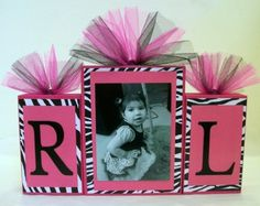 Zebra print with Hot Pink Initial Photo Blocks Custom by slcshop