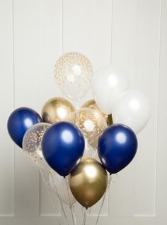 Navy and Gold Balloon Bouquet, Mix of 12 Latex Balloons in Navy, Gold, Pearl White and Confetti-Dot Printed Balloons, Party Bouquet Sweet 16 Decorations, Gold Party Decorations, Balloon Decorations, Birthday Decorations, Graduation Balloons, Graduation Party Decor, Birthday Balloons, Printed Balloons, Blue Balloons