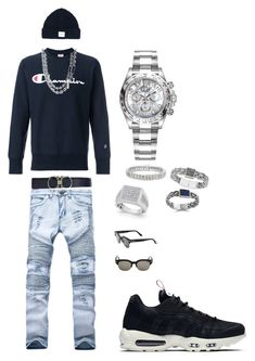 Untitled #88 by tikitress on Polyvore featuring Champion, NIKE, Rolex, Tom Ford, Salvatore Ferragamo, Dondup, John Hardy, Effy Jewelry, Finesque and men's fashion