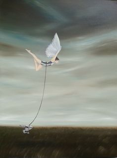 """Giclee Print of original painting """"Fly Anyway"""", woman with wings flying through sky despite anvil, #makeforgood"""