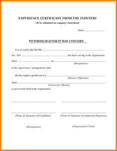 7 Experience Letter Certificate Images Certificate Format Certificate Certificate Templates