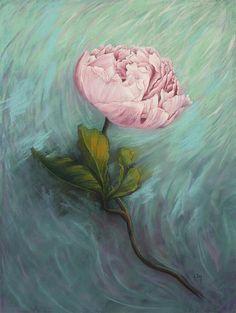 Peinture au pastel sec Pivoine Grosse fleur rose Tableau