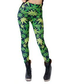 Green Leaves Printed Leggings - Clothing