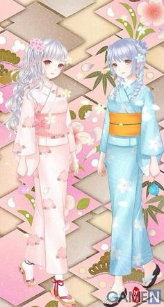Reminds me a bit of Ami and Yumi (the cartoon characters, not the real people! Anime Kimono, Anime Dress, Anime Chibi, Anime Manga, Anime Fashion, Kleidung Design, Samurai, Chibi Characters, Female Character Design
