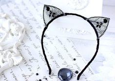 Rhinestone Black Cat Ears  Wire Kitten Ears Cat Hair Band