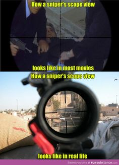 Sniper scope view movies vs real life
