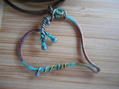 Torched Patina Heart Pendant One of a Kind Wire by OurFrontYard, $19.77