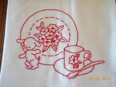 Redwork Hand Embroidered Dishtowel. Puppy with Dishes. Retro/Vintage Style by Happy2BCrafty on Etsy
