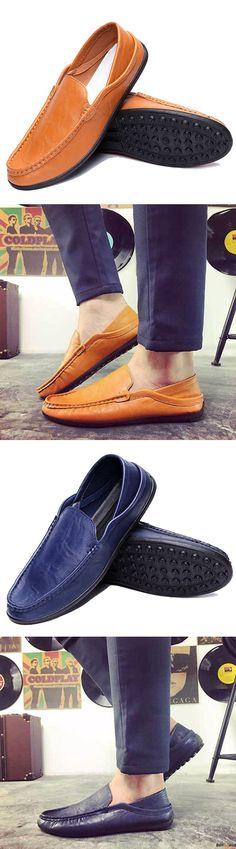 US$23.97+ Free Shipping Men leather slip on, casual comfortable flats.  3 colors available. Fashion and chic. flats, casual shoes, men's loafers, flats, slip on, men's style, chic style, fashion style. Shop at banggood with super affordable price. #men'sshoes#men'sstyle#chic#style#fashion#style#wintershoes#casual#shoes#loafers#men'sloafers#oxfordshoes#men'soxfordshoes
