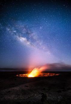 Starry Night at the Jaggar Museum Overlook by .Mott & Bayard Photography on 500px; Halema'uma'u caldera in Volcanoes National Park, Big Island, Hawaii