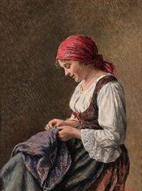 Mädchen bei der Näharbeit by Hans Hamza