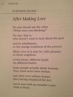 After Making Love, Stephen Dunn
