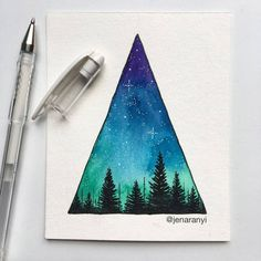 A little starry sky triangle to start out your Saturday morning! 😊 on a completely unrelated note, is anyone else just as shocked as I am that it's already almost mid-August? WHERE did this summer go? Watercolor Paintings Tumblr, Watercolor Print, Art Paintings, Galaxy Painting, Galaxy Art, Art Galaxie, Mini Toile, Triangle Art, Watercolour Painting