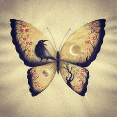 #art #arte #drawing #desenho #zeichnung #sketch #skizze #croquis #ilustracao #illustration #aquarela #watercolor #raven #butterfly  #borboleta #corvo #surreal
