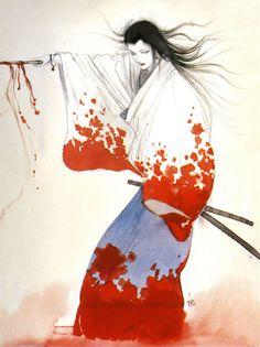 天野喜孝 (Yoshitaka Amano) - Illustration from the book イマジン (Imagine) - 1987 #femalesamurai #martialarts