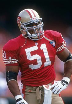 Ken Norton Junior in 1994, his first season in San Francisco after a stellar career in Dallas. He is the son of the late great heavyweight boxer Ken Norton and is the only player in the Super Bowl era to have earned three Super Bowl rings in three consecutive seasons (1992 and '93 with Dallas; '94 with San Francisco). Most recently, he was the linebackers coach of the Seattle Seahawks and is now the defensive coordinator for the Oakland Raiders.