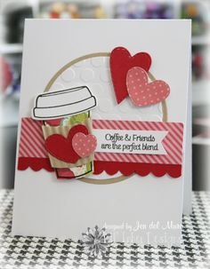 Adorable Friends Card!; would be cute to add a gift card in a pocket inside for a coffee lover.