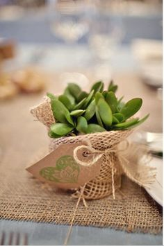"""A small succulent, wrapped in burlap with a hand-stamped note makes a perfect """"Thank You"""" gift. Or a nice hostess gift. Christmas Decorations To Make, Christmas Crafts, Christmas Ideas, Wedding Decorations, Wedding Favours, Party Favors, Small Succulents, Paper Crafts, Diy Crafts"""